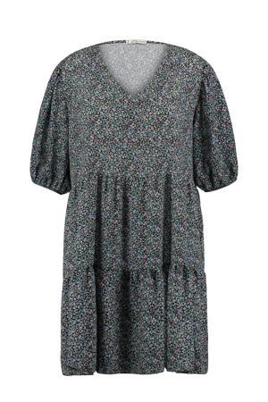 gebloemde jurk Vitalia zwart/lichtblauw/groen