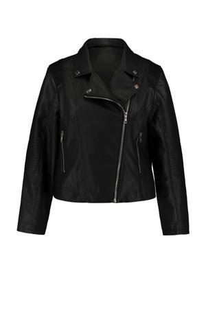 coated bikerjack Sheila met textuur zwart