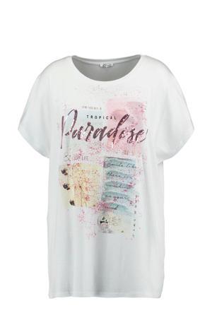 T-shirt Evelin met printopdruk en pailletten wit/multi