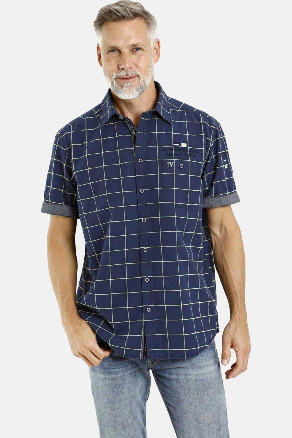 Jan Vanderstorm geruit  overhemd Plus Size Sigered donkerblauw/geel, Donkerblauw/geel