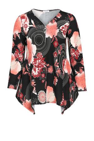 tuniek met all over print en plooien zwart/rood/wit