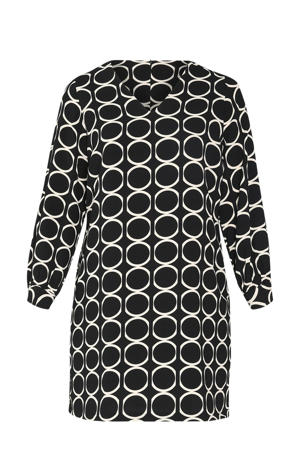 jurk met all over print zwart/ecru