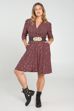 A-lijn jurk met all over print donkerrood