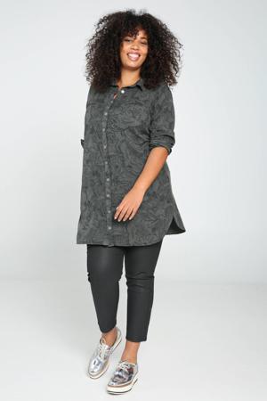 blouse met all over print kaki/donkergroen