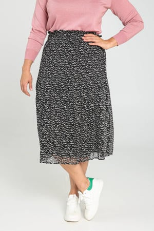 semi-transparante rok met all over print en plooien zwart/wit