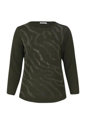 fijngebreide trui met strass steentjes donkergroen/zilver