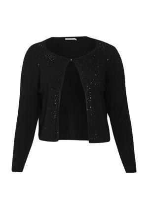 fijngebreid vest met 3D applicatie zwart