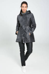 Cassis  coat met all over print grijs/antraciet, Grijs/antraciet