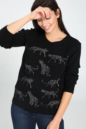 trui met dierenprint zwart/zilver