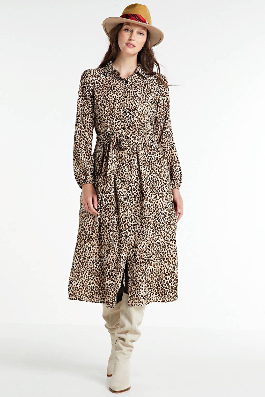 LOLALIZA maxi jurk met dierenprint en ceintuur beige, Beige