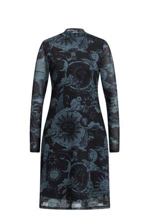 jurk met all over print zwart