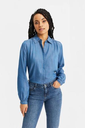 geweven blouse met plooien blue