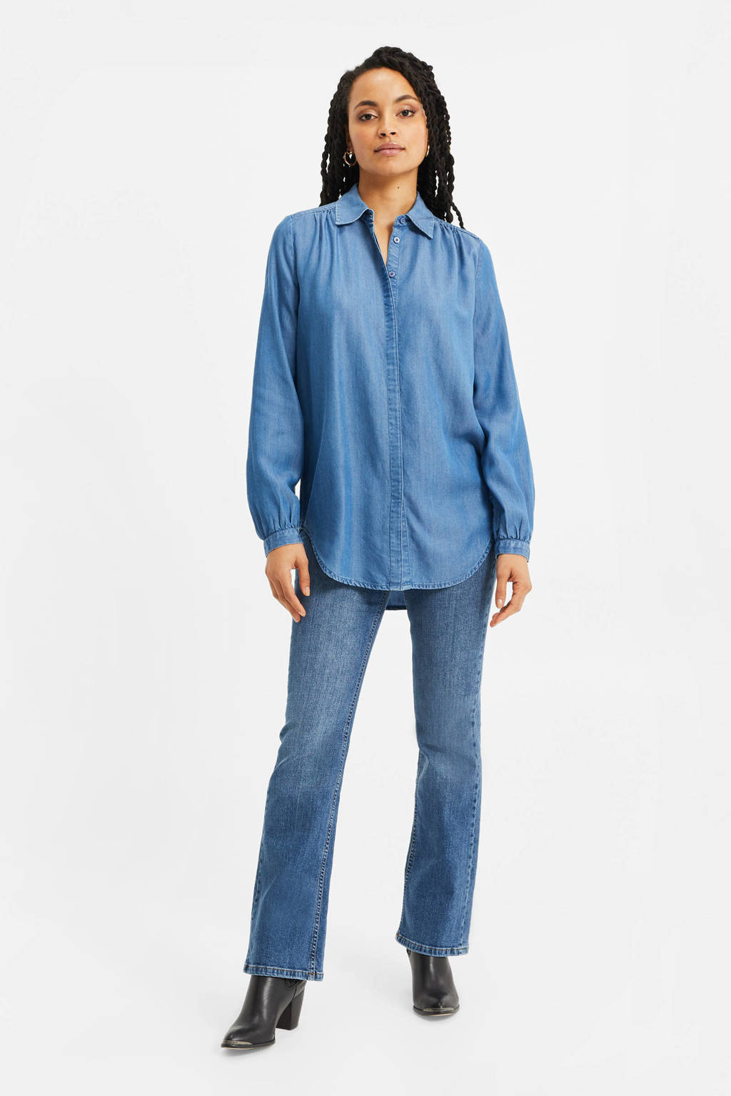 WE Fashion geweven blouse met plooien blue