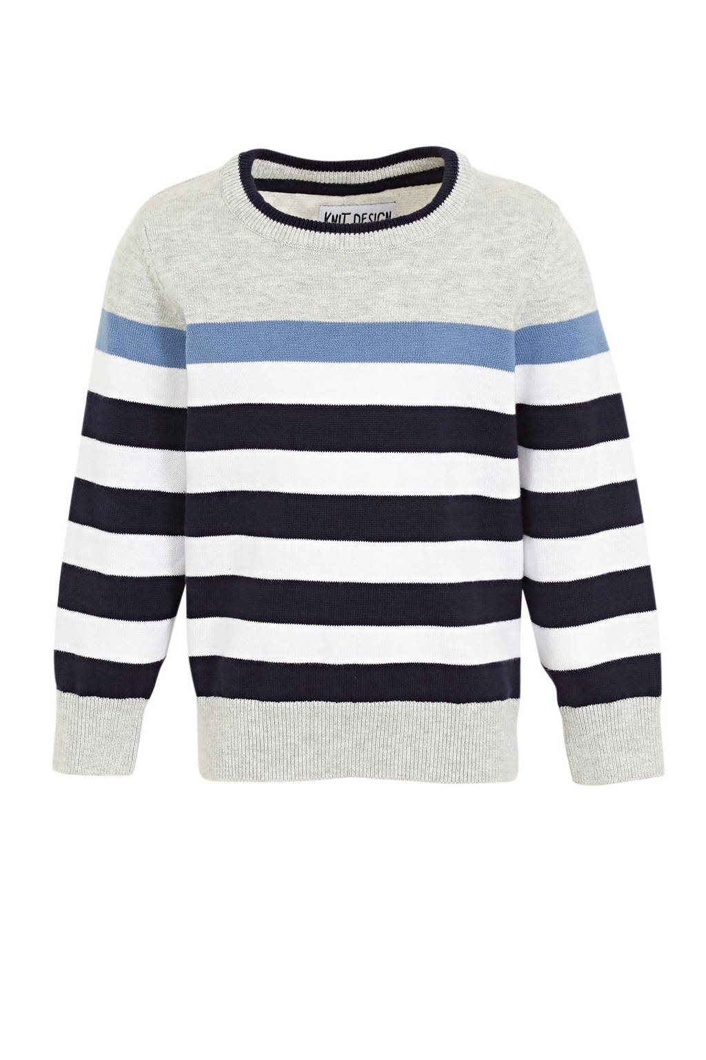 C&A gestreepte trui lichtgrijs melange/donkerblauw/wit, Lichtgrijs melange/donkerblauw/wit