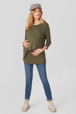 low waist slim fit zwangerschapsjeans met biologisch katoen stonewashed