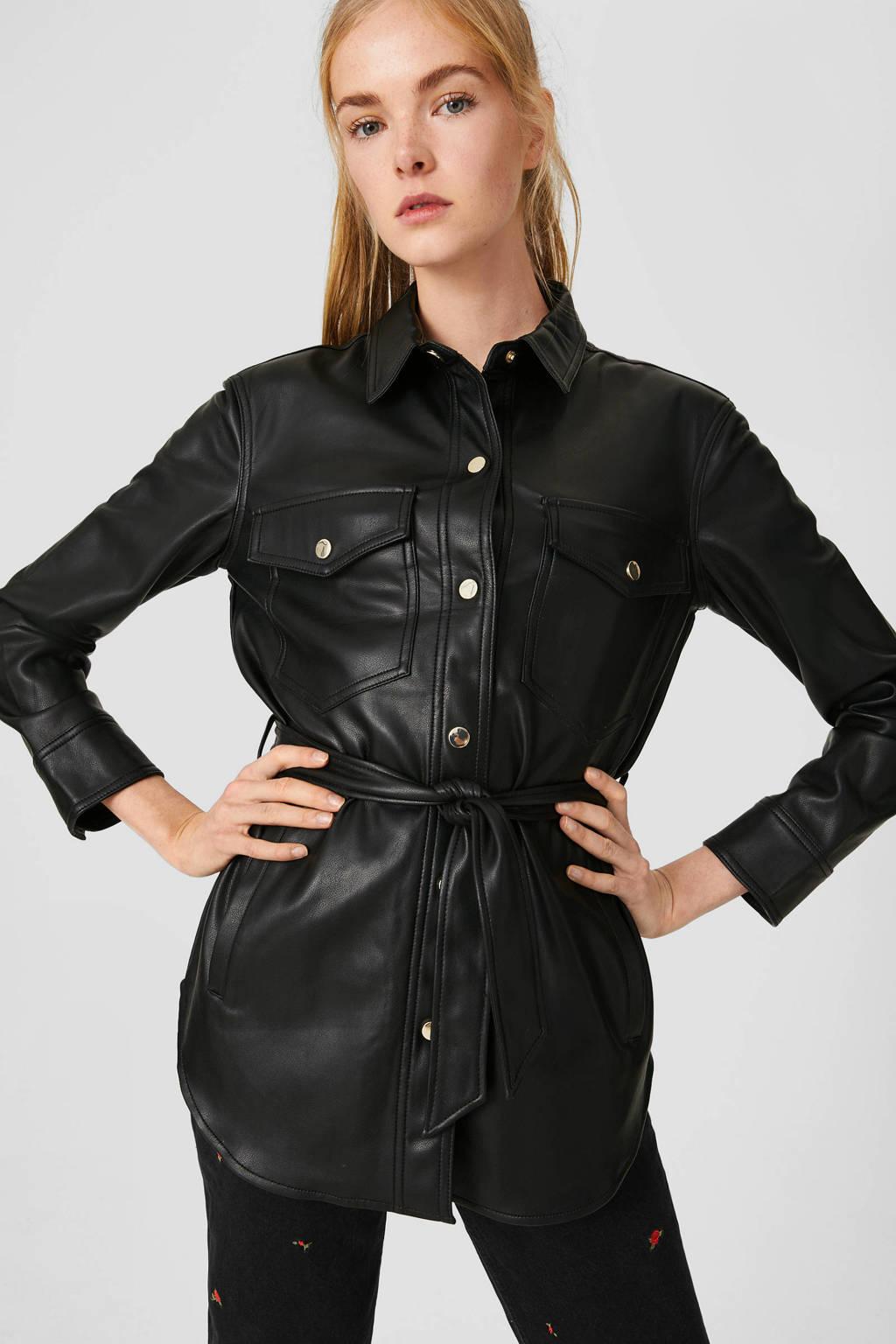 C&A Clockhouse coated blouse met ceintuur zwart, Zwart