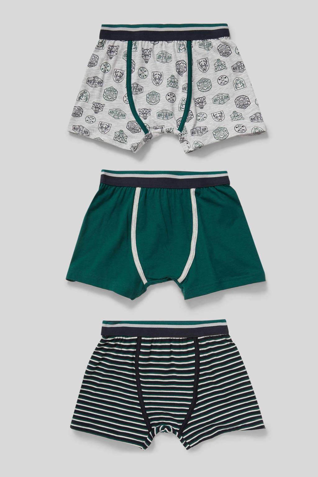C&A Here & There   boxershort - set van 3 donkergroen/zwart/grijs
