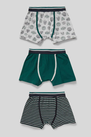 boxershort - set van 3 donkergroen/zwart/grijs