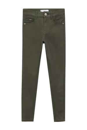 coated skinny broek kaki groen