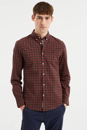 geruite slim fit overhemd dark bloody mary