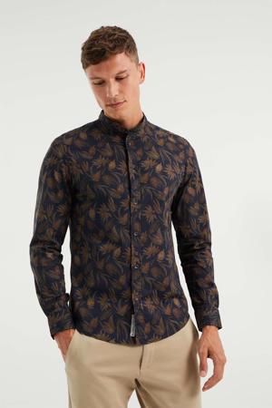 slim fit overhemd met all over print heavy blue
