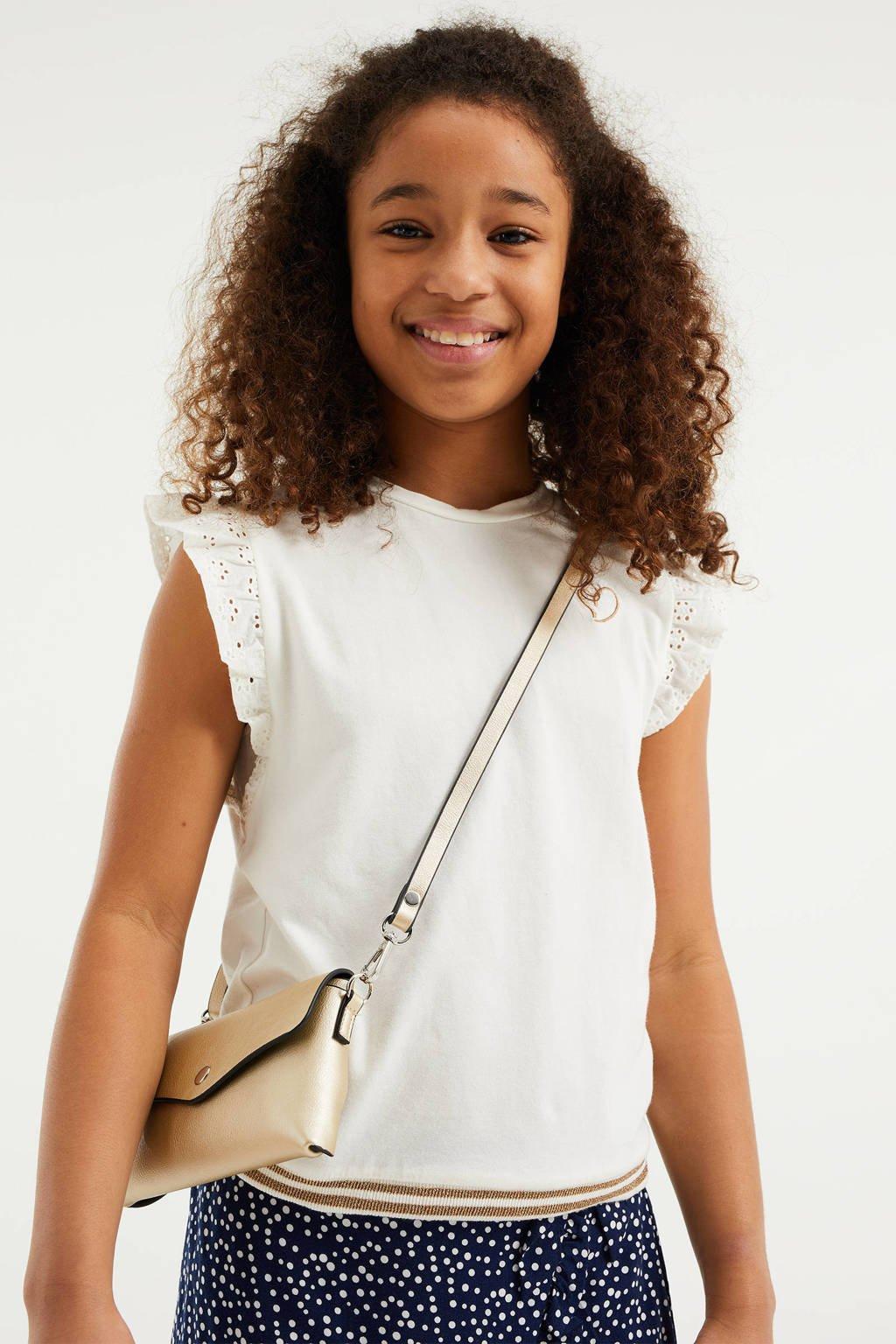WE Fashion T-shirt met glitters wit, Wit