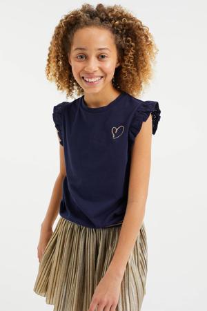 T-shirt met glitters donkerblauw/goud/zwart