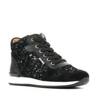 Develab 41136  hoge suède sneakers met glitters zwart, Diversen