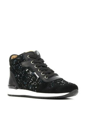41136  hoge suède sneakers met glitters zwart