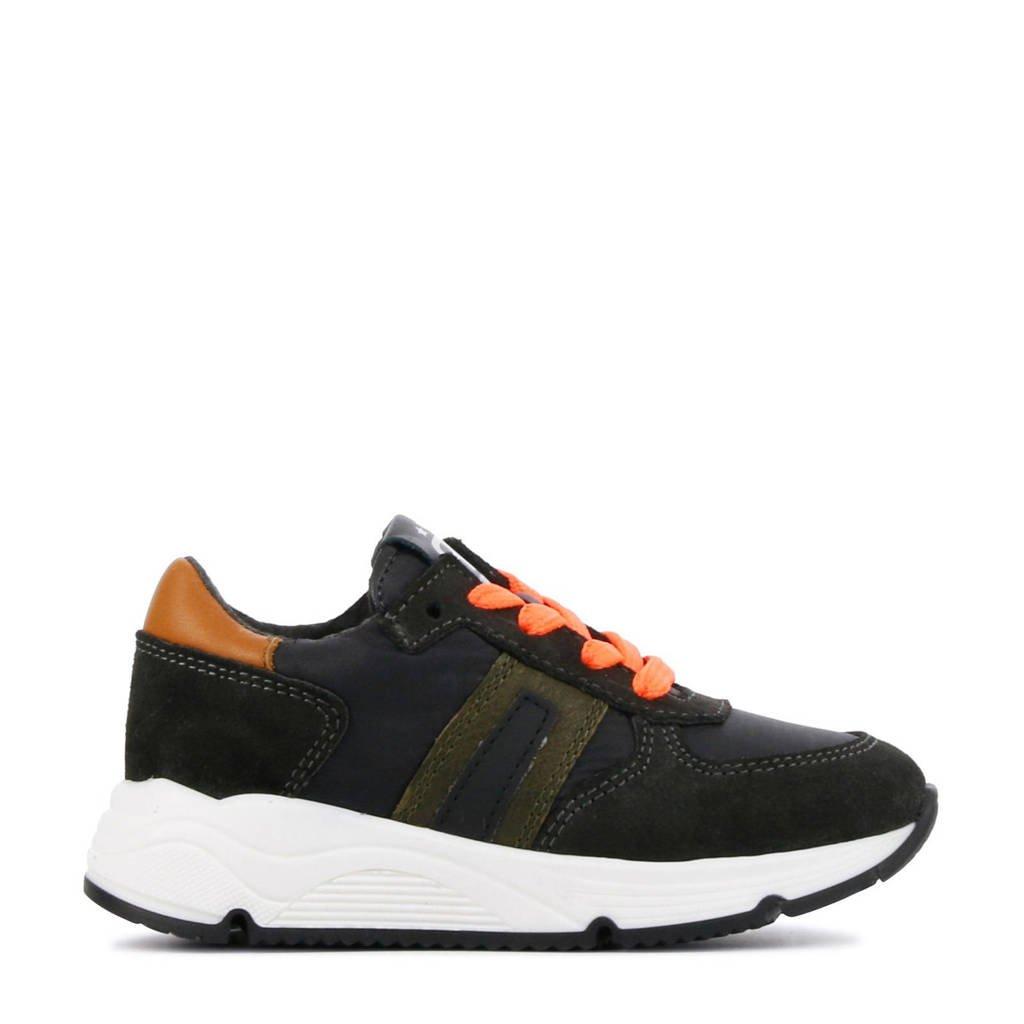 Pinocchio P1880  suède sneakers antraciet, Antraciet/Oranje/Bruin