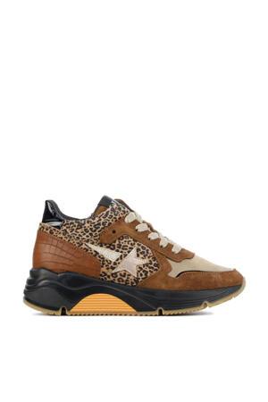 H1976  chunky dad sneakers cognac/panterprint