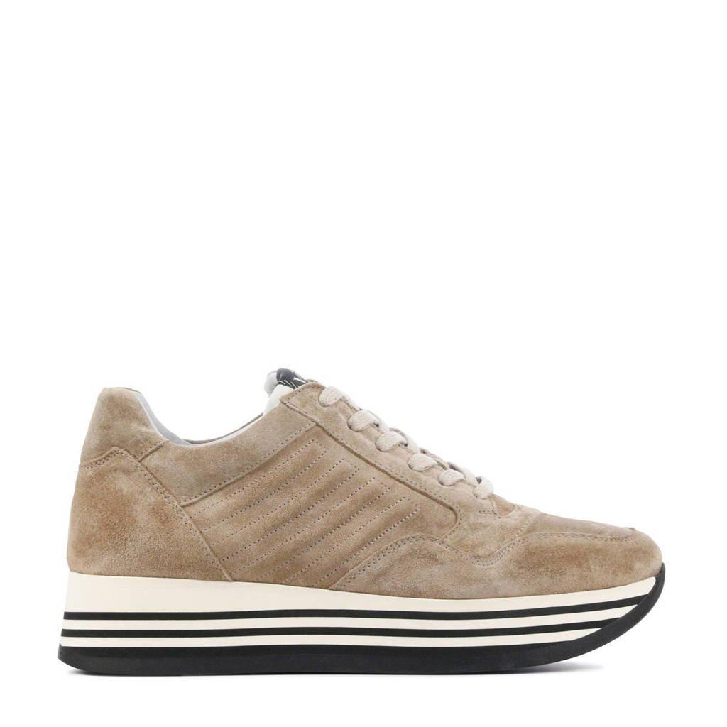 Via Vai 5209036  suède plateau sneakers taupe, Taupe