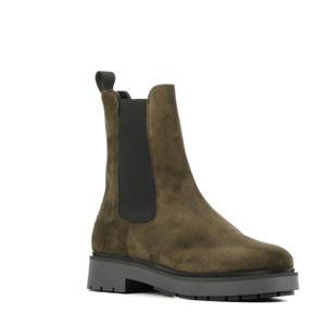 5505032  hoge suède chelsea boots donkergroen