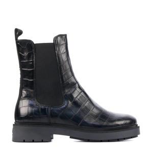 5505032  hoge leren chelsea boots crocoprint zwart