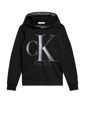 hoodie van gerecycled polyester zwart/grijs