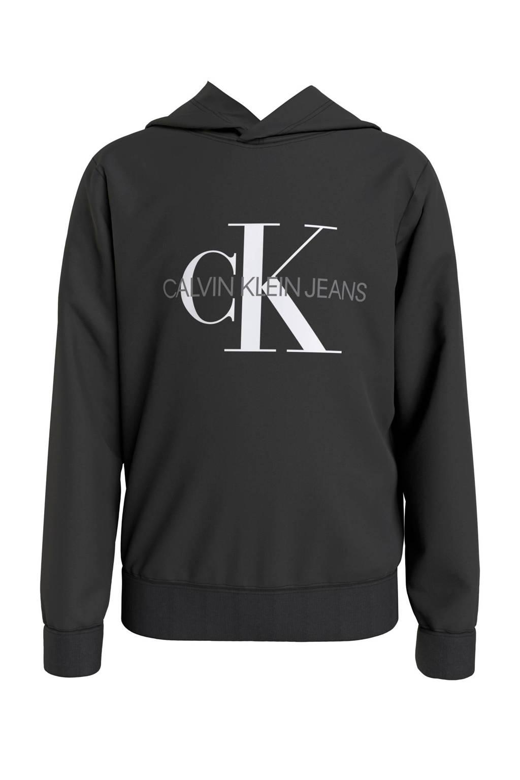 CALVIN KLEIN JEANS hoodie van biologisch katoen zwart/wit/antraciet, Zwart/wit/antraciet