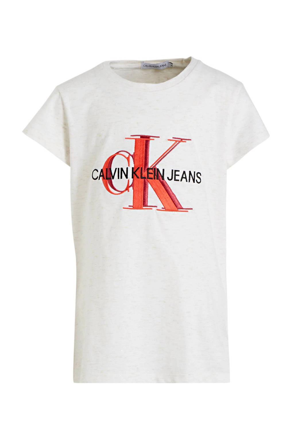 CALVIN KLEIN JEANS T-shirt van biologisch katoen wit/rood/zwart, Wit/rood/zwart