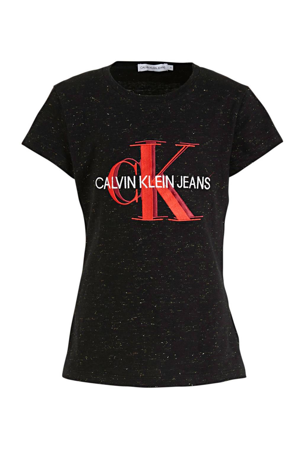 CALVIN KLEIN JEANS T-shirt van biologisch katoen zwart/rood/wit, Zwart/rood/wit