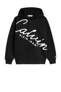 CALVIN KLEIN JEANS hoodie met tekst zwart/wit, Zwart/wit