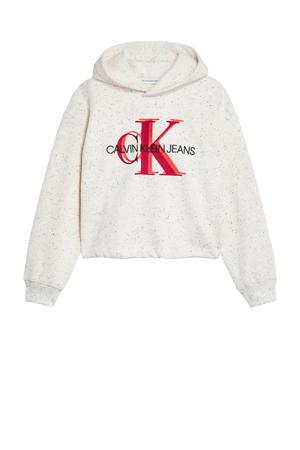 hoodie met logo ecru/rood