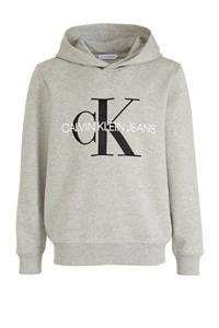 CALVIN KLEIN JEANS hoodie met logo lichtgrijs/zwart/wit, Lichtgrijs/zwart/wit