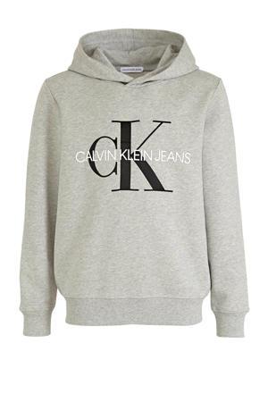 hoodie met logo lichtgrijs/zwart/wit
