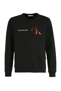 CALVIN KLEIN JEANS sweater van biologisch katoen zwart/wit/rood, Zwart/wit/rood