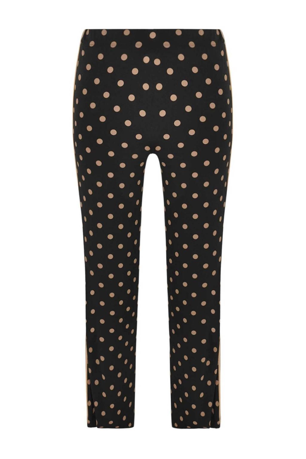Yoek bootcut broek met zijstreep zwart/beige, Zwart/beige