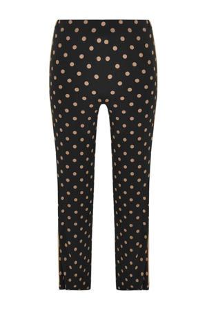 bootcut broek met zijstreep zwart/beige