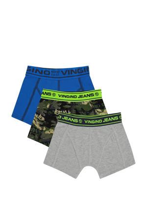 boxershort Camerone - set van 3 groen/blauw/grijs melange