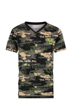 T-shirt Cameroene met camouflageprint groen/beige