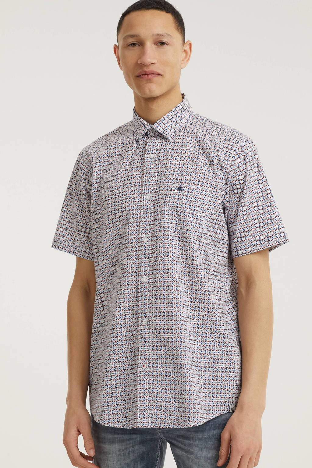LERROS slim fit overhemd met all over print roze/wit, Roze/wit