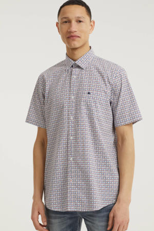 slim fit overhemd met all over print roze/wit