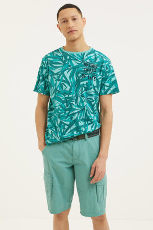 T-shirt met bladprint groen/wit